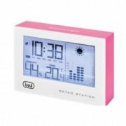 Statie meteo LED afisaj ora calendar higrometru functie alarma de interior alb roz
