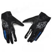 spakct ciclismo al aire libre guantes transpirables con dedos llenos - azul + gris + negro (talla XL / par)