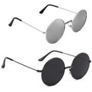 Rich Club Round Sunglasses(Black, Silver)