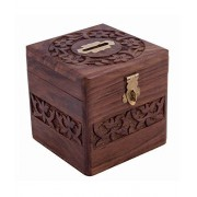 Hand Carved Wooden Coins Storage Box, Money Bank with Carving Work and LOCK. Safe Money Storage Box, Piggy Bank for Kids & Adults, 4 X 4 Inch, Easter Day / Mother day / Good Friday Present