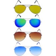 Roadway Aviator Sunglasses(Golden, Blue, Brown)