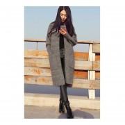 Autumn Women Fashion Casual Long Knit Sweater Long Sleeve Cardigan Coat Gray