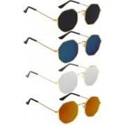 SRPM Retro Square Sunglasses(Black, Blue, Silver, Yellow)