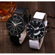 Mark Regal Round Black Dail White And Black Lreather Strap Analog Watch For Mens Combo Of 2 Pcs