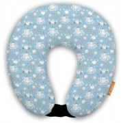 ORKA Digital Printed Spandex With Micro Beads U Neck Pillow(Teal And White)
