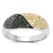 Inel din argint, diamante galbene si diamante verzi
