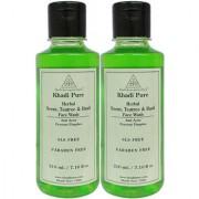 Khadi Pure Herbal Neem Teatree and Basil Face Wash Paraben Free - 210ml (Set of 2)