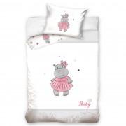 Lenjerie de pat copii, din bumbac, Hipopotam, roz, 100 x 135 cm, 40 x 60 cm
