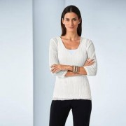 Shelley Komarov Plissee-Travel-Shirt, 36 - Offwhite