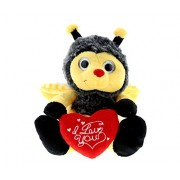 Dollibu Sitting Bumble Bee I Love You Valentines Stuffed Animal - Heart Message - 7 inch - Super Soft Plush - Item #K5017-5999