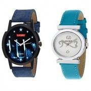 Laurex Blue Analog Leather Watches for Lovely Couple Combo-LX-031-LX-027