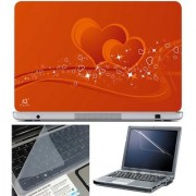 Finearts Laptop Skin Heart Vector With Screen Guard And Key Protector - Size 15.6 Inch