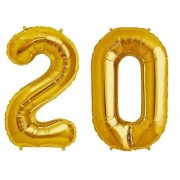 De-Ultimate Solid Golden Color 2 Digit Number (20) 3d Foil Balloon for Birthday Celebration Anniversary Parties