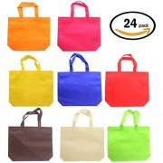Party Gift Tote Favor Bags - 24 Pack 8 Color Non-woven Treat Bags with Handles for Birthday Favors,Snacks, Decoration, Arts & Crafts, Event Supplies (8 Colors) by Tree CACTUSER
