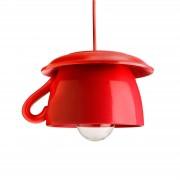 EUROKERAMIC Tazza - Lámpara colgante roja cerám. para cocina