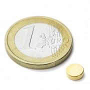 Magnet neodim disc ?6x2 mm, putere 740 g - N45, placat aur