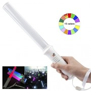 Tg Tuffgear Glow Stick Traffic Safety Baton, Light 15 Color Changing, 2 Lighting Modes, Ultra Bright Flashing Sticks for Parking Guides and Dog Walkers with Strings Included