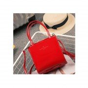 Bolso de mano de PU estilo simple y modelo color en rojo