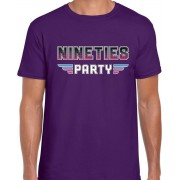 Nineties party/feest t-shirt paars voor heren - paarse dance / Nineties feest shirts / outfit L