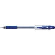 Pix cu gel PENAC FX-1, rubber grip, 0.7mm, con metalic, corp transparent - scriere albastra
