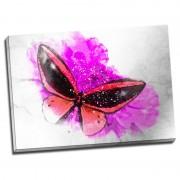 Tablou fluture rosu pe floare fucsia