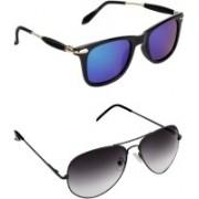 Pogo Fashion Club Wayfarer, Aviator, Over-sized Sunglasses(Black, Blue)