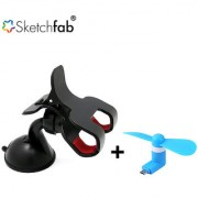 Sketchfab Combo of Universal Car Mobile Holder Double 360 Degree Rotating V8 Micro USB OTG Fan for OTG Supported - Assorted Color