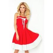 MyButik.pl Rockabilly Pin Up Sukienka Czerwona Z Białym Pasem Tasiemka Biała