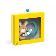 JANOD Drewniany Gryzak dla niemowląt na ząbkowanie Królik Baby Pop + silikon,