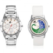Arum White Dial Peacock Couple Watch AW-027