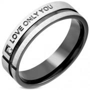 Ezüst és fekete színű nemesacél gyűrű LOVE ONLY YOU felirattal és cirkónia kristállyal-7