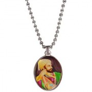 Men Style Chhatrapati Shivaji Maharaj Multicolor Alloy Oval Pendent For Men