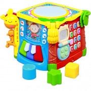 GoAppuGo 5-in-1 Musical Activity Drum Toy with flash Lights, Piano, Phone, Flip book, Shapes sorter, Baby birthday learning toys gift for 1 year old baby boy girl or 2 year old baby boy girl