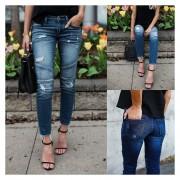 Pantalones Vaquero Para Mujer De Elásticos Con Mucho Huecos - Azul Claro
