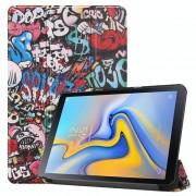 Graffiti patroon gekleurde geschilderd horizontale Flip PU lederen Case voor Galaxy Tab Advanced2 / T583 met drie-vouwen houder