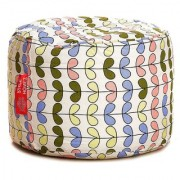 Style Homez Round Cotton Canvas Abstract Printed Bean Bag Ottoman Stool Large with Beans Multi Color