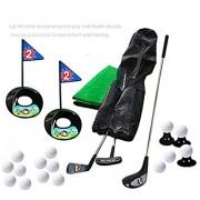 SOWOFA juego de golf de juguete juego de golf 3 palos de golf y 15 kits de práctica de golf, con una alfombrilla verde para el hogar, apto para niños de 1 a 6 años, con una mochila