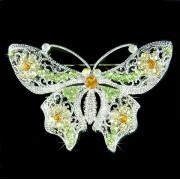 X'mas Green Elegant Filigree Swarovski Crystal Butterfly Brooch