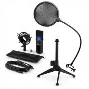 auna MIC-900B-LED USB Conjunto Microfone V2 | Microfone Condensador | Filtro Pop | Suporte p/Mesa