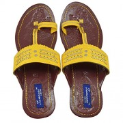 Tamanna Kolhapuri Yellow Color Chappal For Women, chappals for girls, girls chappals, chappals for women, women chappals, women footwear, juti for girls,footwear for women, chappals for women, casual chappals, chappals for girls, women's chappals, girl ch