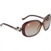 Clark n' Palmer Brown Polarized Oval Women Sunglasses
