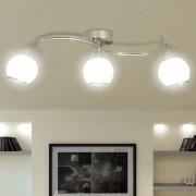 vidaXL Лампа за таван с 3 стъклени абажура на извита релса за крушки тип Е14