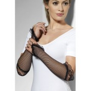 Fingerless Black Fishnet Gloves With Lace
