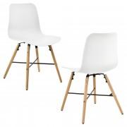 [en.casa] Conjunto de 2 sillas de comedor - blanco con estampado - silla de plástico de diseño retro