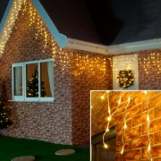 Instalatie de Craciun Flippy Tip Franjuri 7 m 200 LED-uri Interconectabila Alb Cald