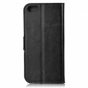 funda protectora de cuero de la PU abierta con ranuras para tarjetas para el iphone 5 - negro