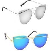 Sulit Cat-eye Sunglasses(Silver, Blue)