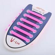 12 stuks/set creatieve Unisex vrouwen mannen atletische Running geen stropdas schoenveters elastische siliconen schoen Lace voor alle sneakers (roze)