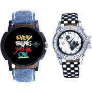 Super Every Thinke Will Be Ok Dial With Flowers Black Art Couple Analoge Wrist Watch By Google Hub