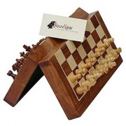 SouvNear Fine Handmade Rosewood Chess Set - Classic 10 Inch Ultimate Wood Magnetic Travel Staunton Chess Game with Folding Storage Board in a Walnut Finish - Wooden Family Indoor Board Games from India